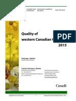 Quality of Western Canadian Canola 2015