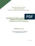 INSTRUCTIVO PARA LA INSCRIPCIÓN DE MINEROS DE SUBSISTENCIA