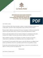 Papa Francesco 20190822 Messaggio Chiese Metodisteevaldesi