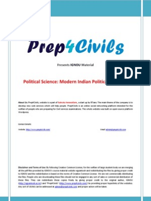 IGNOU Political Science Material - Modern Indian Political Thought