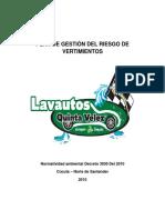LAVAUTOS QUINTA VELEZ PLAN DE GESTI+ôN DEL RIESGO DE VERTIMIENTOS