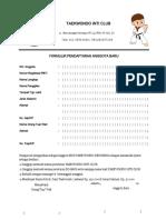Formulir Pendaftaran Taekwondo