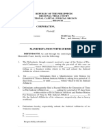 Sample Manifestation With Submission of Judicial Affidavit of Witnesses