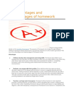 The Advantages and Disadvantages of Homework