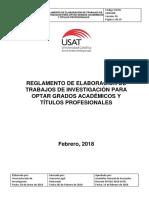 reglamento de trabajos de investigación para grados académicos y títulos profesionales