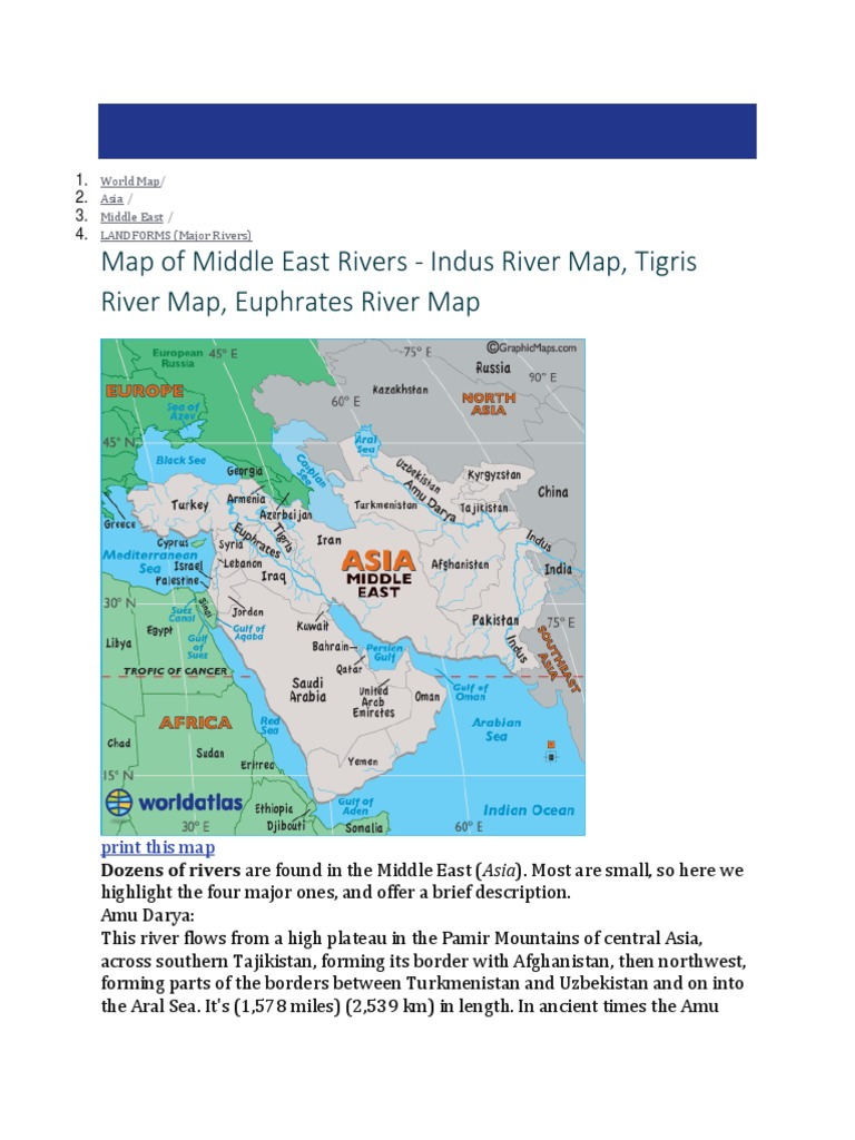 Image of: Map Of Middle East Rivers Indus River Map Tigris River Map Euphrates River Map Nature Nature