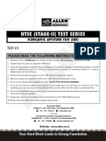 NTSE 2020 SAT Sample Mock Test Paper 3