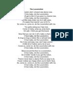 Locomotion, The [Little Eva] Lyric Sheet