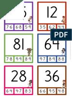Tarjetas de Multiplicaciones