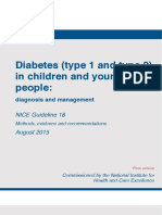 NICE Guideline for Diabetes 1 and 2 in children