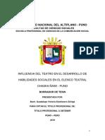 Influencia Del Teatro en El Desarrollo de Habilidades Sociales en El Elenco Teatral Chaska Ñawi