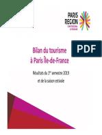 Bilan tourisme et perspectives 2019 pour Paris et sa région