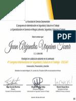 Certificado 4° Congreso Internacional de Seguridad y Salud en el Trabajo UNIMINUTO 2019