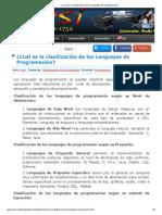 Clasificacion de Los Lenguajes de Pro