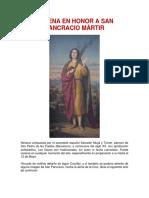 NOVENA EN HONOR A SAN PANCRACIO MARTIR