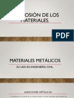 Corrosión de los materiales.