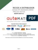 Lista de Precio DISTRIBUIDOR (Alarmas, Control de Acceso, CCTV, Automatizacion y Citofonia) AGOSTO 16.08.2019