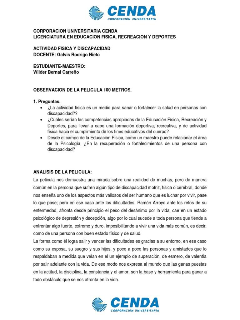 Ensayo Pelicula 100 Metros Triatlon Invalidez