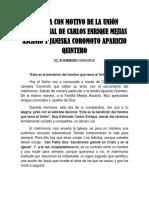 Homilia Con Motivo de La Unión Matrimonial de José Gregorio Piñate Loreto y Noryuby Herandez Mejias