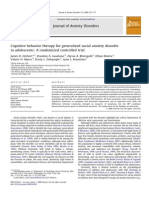 Cognitive Behavior Therapy for Generalized Social Anxiety Disorder