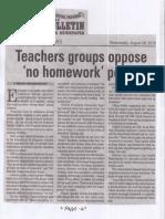 Manila Bulletin, Aug. 28, 2019, Teachers groups oppose no homeworks policy.pdf