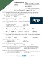 1st Monthlytest Math 8