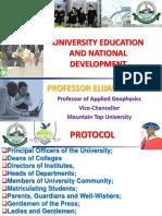 University Education and National Development - Professor Elijah Ayolabi.ppt