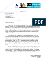 2019-8-19 Letter to Secretary of State Pompeo; Religious Liberty; Cuba; Sanctions