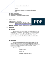 Lesson Plan in Mathematics 7