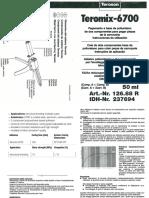Adesivo Poliuretanico Teromix 6700 & Security D-sheet