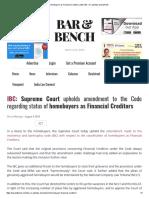 Brief OF IBC VERSUS RERA