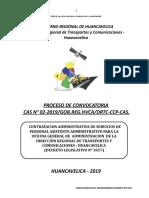 PROCESO CAS N°002-2019 DIRECCIÓN REGIONAL DE TRASPORTES Y COMUNICACIONES - HUANCAVELICA