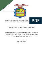 Directiva para manejo Caja Chica  MPOyon