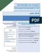 Reporte de Conflictos Sociales N° 185 - Julio 2019