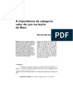 A Importância Da Categoria Valor de Uso Em Marx - Marcelo Carcanholo