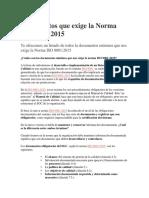 Documentos Que Exige La Norma ISO 9001 Version 2015