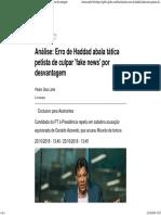 Análise_ Erro de Haddad abala tática petista de culpar 'fake news' por desvantagem