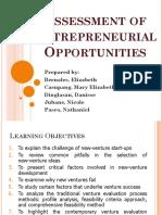 Assessment of Entrepreneurial Opportunities 1