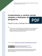 Andrea Corcasi y Santiago Garcia Cernaz (2013). Conductismo y Control Social Utopias y Distopias de Posguerra