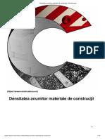 Densitatea Anumitor Materiale de Construcţii