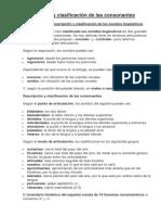 Descripción y Clasificación de Las Consonantes
