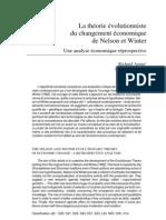 La théorie évolutionniste du changement économique Nathalie Lazaric Richard Arena