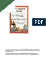 Teachers Prayera