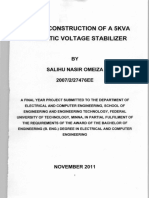 Design and Construction of a 5kva Automatic Voltage Stabilizer