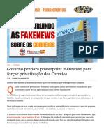 Governo Prepara Powerpoint Mentiroso Para Forçar Privatização Dos Correios