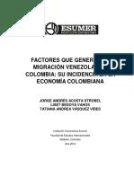 Factores Que Generan La Migración Venezolana a Colombia_ Su Incidencia en La Economía Colombiana