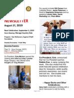 Moraga Rotary Newsletter August 27 2019