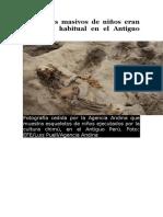 Sacrificios Masivos de Niños Eran Un Ritual Habitual en El Antiguo Perú