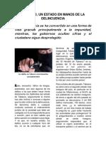 Reportaje Delincuencia en Tabasco