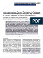 Relationship between Farmers' Participation in Technology Development and Dissemination Processes; and Acceptability of Improved Sugarcane Varieties in Kakamega County